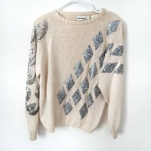Unique Cream Embellished and Beaded Sweater